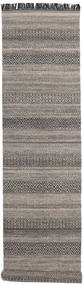 Hedda - Brown Rug 80X350 Authentic  Modern Handwoven Hallway Runner  Light Grey/Dark Grey (Wool, India)