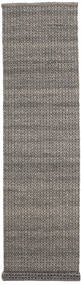 Alva - Brown/Black Rug 80X350 Authentic  Modern Handwoven Hallway Runner  Dark Grey/Light Grey (Wool, India)