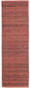 Alva - Dark_Rust/Schwarz Teppich  80X250 Echter Moderner Handgewebter Läufer Dunkelrot/Dunkelbraun (Wolle, Indien)