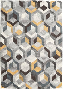 Cube - Grey/Gold Rug 160X230 Modern Light Grey/Dark Grey (Wool, India)