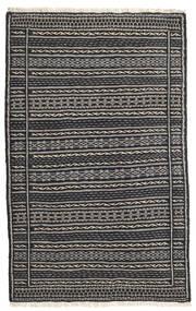Kelim Vloerkleed 81X130 Echt Oosters Handgeweven Donkergrijs/Zwart/Lichtgrijs (Wol, Perzië/Iran)