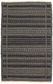 キリム ペルシャ 絨毯 80X130 オリエンタル 手織り 黒/濃いグレー (ウール, ペルシャ/イラン)