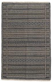 Kelim Teppich 98X155 Echter Orientalischer Handgewebter Dunkelgrau/Schwartz/Hellgrau (Wolle, Persien/Iran)