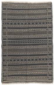 Kelim Teppe 95X150 Ekte Orientalsk Håndvevd Svart/Lys Grå/Mørk Grå (Ull, Persia/Iran)