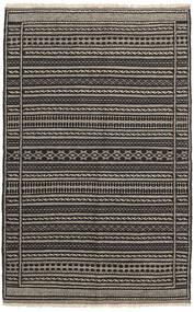 Kelim Teppe 100X159 Ekte Orientalsk Håndvevd Svart/Mørk Grå/Lys Grå (Ull, Persia/Iran)