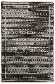 Kelim Persisch Teppich 100X160 Echter Orientalischer Handgewebter Schwartz/Dunkelgrau/Hellgrau (Wolle, Persien/Iran)