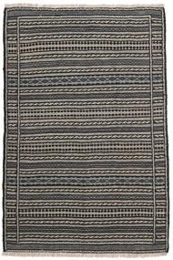 Kelim Teppich 98X150 Echter Orientalischer Handgewebter Dunkelgrau/Schwartz/Hellgrau (Wolle, Persien/Iran)