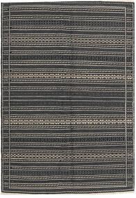 Kilim Dywan 140X198 Orientalny Tkany Ręcznie Ciemnoszary/Czarny/Jasnoszary (Wełna, Persja/Iran)