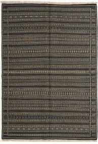キリム ペルシャ 絨毯 140X200 オリエンタル 手織り 黒/濃いグレー (ウール, ペルシャ/イラン)
