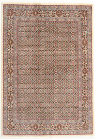Moud Matta 166X238 Äkta Orientalisk Handknuten Ljusgrå/Mörkröd (Ull/Silke, Persien/Iran)