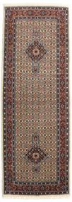 Moud Matta 80X230 Äkta Orientalisk Handknuten Hallmatta Ljusbrun/Mörkbrun (Ull/Silke, Persien/Iran)