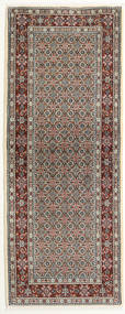 Moud Rug 78X200 Authentic  Oriental Handknotted Hallway Runner  Light Brown/Dark Brown (Wool/Silk, Persia/Iran)