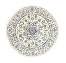 Nain Rug Ø 200 Authentic  Oriental Handknotted Round Light Grey/Beige (Wool, Persia/Iran)