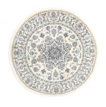 Nain Matto Ø 200 Itämainen Käsinsolmittu Pyöreä Beige/Vaaleanharmaa (Villa, Persia/Iran)