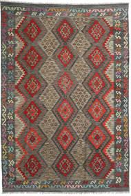 Kilim Afghan Old Style Rug 199X297 Authentic  Oriental Handwoven Dark Grey/Dark Red (Wool, Afghanistan)