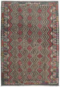 Kelim Afghan Old Style Matta 204X293 Äkta Orientalisk Handvävd Mörkgrå/Ljusbrun (Ull, Afghanistan)