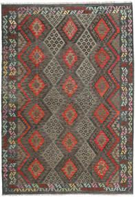 Kilim Afghan Old Style Rug 207X298 Authentic  Oriental Handwoven Dark Grey/Dark Red (Wool, Afghanistan)
