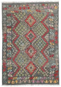 Kelim Afghan Old Style Tapijt 127X185 Echt Oosters Handgeweven Donkergrijs/Lichtgrijs (Wol, Afghanistan)
