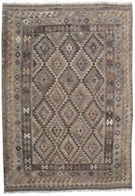 Kilim Afghan Old Style Tapis 204X291 D'orient Tissé À La Main Marron Clair/Marron Foncé (Laine, Afghanistan)