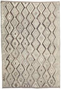 Kelim Afghan Old Style Teppe 204X301 Ekte Orientalsk Håndvevd Lysbrun/Lys Grå (Ull, Afghanistan)