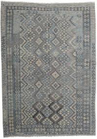 Kelim Afghan Old Style Vloerkleed 209X295 Echt Oosters Handgeweven Lichtgrijs/Donkergrijs (Wol, Afghanistan)