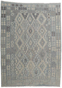 Kilim Afghan Old Style Rug 212X294 Authentic  Oriental Handwoven Light Grey/Dark Grey (Wool, Afghanistan)