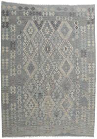 Kilim Afghan Old Style Rug 212X294 Authentic  Oriental Handwoven Light Grey/Dark Grey (Wool, Afghanistan)