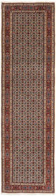 Moud Rug 80X296 Authentic  Oriental Handknotted Hallway Runner  Light Brown/Dark Grey (Wool/Silk, Persia/Iran)