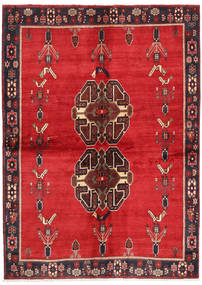 Afshar Matto 147X209 Itämainen Käsinsolmittu Punainen/Tummanruskea (Villa, Persia/Iran)