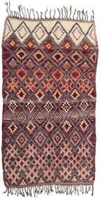 Berber Moroccan - Beni Ourain Rug 214X385 Authentic Modern Handknotted Dark Brown/Dark Purple (Wool, Morocco)