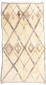 Berber Moroccan - Beni Ourain Rug 202X376 Authentic  Modern Handknotted Hallway Runner  Beige/Light Pink (Wool, Morocco)