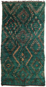 Berber Moroccan - Beni Ourain Tapis 180X358 Moderne Fait Main Turquoise Foncé (Laine, Maroc)
