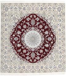Nain 9La Alfombra 198X207 Oriental Hecha A Mano Cuadrada Beige/Blanco/Crema/Gris Claro (Lana/Seda, Persia/Irán)
