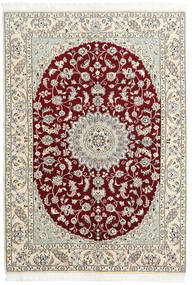 Nain 9La Teppich  146X220 Echter Orientalischer Handgeknüpfter Beige/Hellgrau (Wolle/Seide, Persien/Iran)