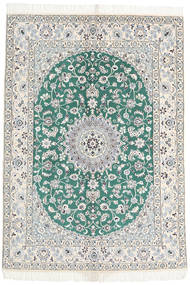 Nain 9La Dywan 144X201 Orientalny Tkany Ręcznie Beżowy/Jasnoszary (Wełna/Jedwab, Persja/Iran)