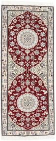 Nain 9La Teppe 76X184 Ekte Orientalsk Håndknyttet Teppeløpere Beige/Lys Grå (Ull/Silke, Persia/Iran)