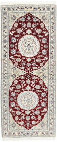 Nain 9La Rug 80X193 Authentic  Oriental Handknotted Hallway Runner  Light Grey/Dark Red (Wool/Silk, Persia/Iran)