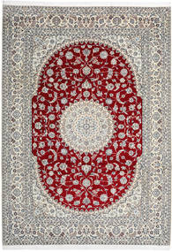 Nain 9La Covor 246X345 Orientale Lucrat Manual Gri Deschis/Bej (Lână/Mătase, Persia/Iran)
