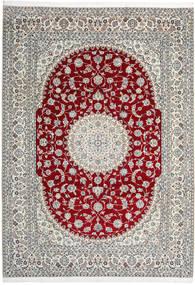 Nain 9La Alfombra 246X345 Oriental Hecha A Mano Gris Claro/Rojo Oscuro (Lana/Seda, Persia/Irán)