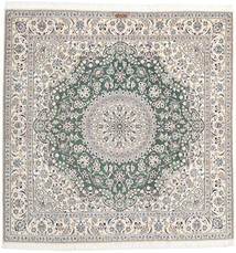 Nain 9La Rug 200X200 Authentic Oriental Handknotted Square Light Grey/Beige/Dark Grey (Wool/Silk, Persia/Iran)