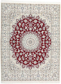 Nain 9La Rug 202X262 Authentic  Oriental Handknotted Beige/White/Creme/Light Grey (Wool/Silk, Persia/Iran)