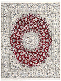 Nain 9La Rug 200X254 Authentic  Oriental Handknotted Light Grey/Beige (Wool/Silk, Persia/Iran)