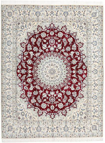 Nain 9La Rug 198X258 Authentic  Oriental Handknotted Light Grey/White/Creme/Beige (Wool/Silk, Persia/Iran)