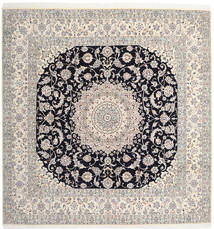 Nain 9La Rug 300X310 Authentic  Oriental Handknotted Square Light Grey/Beige Large (Wool/Silk, Persia/Iran)