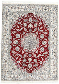 Nain 9La Alfombra 150X200 Oriental Hecha A Mano Beige/Gris Claro (Lana/Seda, Persia/Irán)