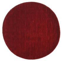 Handloom - Sekundær Tæppe Ø 100 Moderne Rundt Mørkerød/Rød (Uld, Indien)