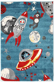 Astronauts Rug 120X180 Modern Dark Turquoise  /Light Grey ( Turkey)