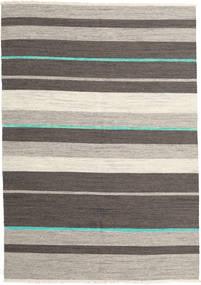 Kelim Modern Teppich  170X239 Echter Moderner Handgewebter Dunkelgrau/Hellgrau (Wolle, Indien)