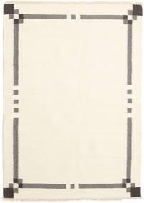Kelim Moderni Matto 140X196 Moderni Käsinkudottu Valkoinen/Creme/Beige (Villa, Intia)