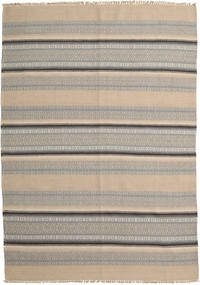 Kilim Modern Rug 160X226 Authentic  Modern Handwoven Light Brown/Light Grey (Wool, India)